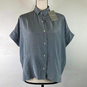 Everlane women's gray silk square shirt SZ 2